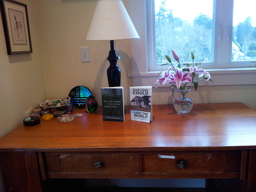 Anne's desk, which belonged to her grandfather and her father before she inherited it.